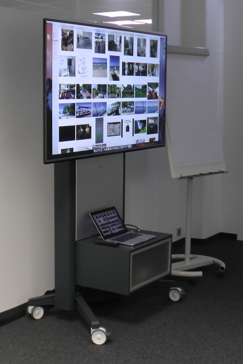 Präsentationstrolley, Präsentation von Ipad, Laptop, McBook