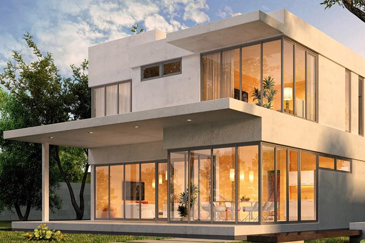 Gebäudetechnik, Komplettlösungen für Gebäude, Gebäude mit Touch-Bedienung steuern, Foto von Gebäude, Aufnahme im Freien